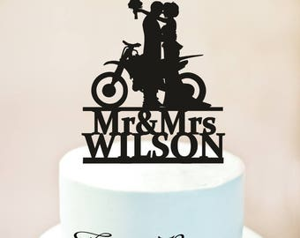 Motorcycle Wedding Cake TopperMr And Mrs TopperGroom On MotorcycleCustom