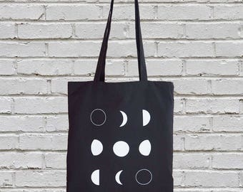 Sale - Imperfect Print - Cotton canvas tote bag - moon tote bag - moon phases tote bag - canvas totes - screen printed tote bag