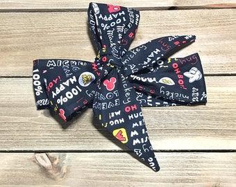 Matching Headbands- Mickey Mouse Headband; Mickey Headband; Mickey Mouse Headwrap; Mickey Headwrap; Mickey Mouse Bow, Mickey Bow; Bandana