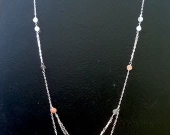 Moonstone silver chain long layered multi strand simple long necklace