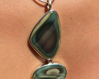 Imperial Jasper created double 925 sterling silver.