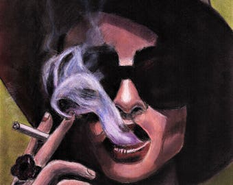 Original Art Print - Marla Singer Painting, Helena Bonham Carter, Fight Club, T.A. Schmitt, Artist