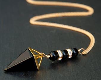 black onyx necklace, black onyx jewelry, black onyx pendant, crystal necklace, crystal point, black onyx point necklace, black onyx