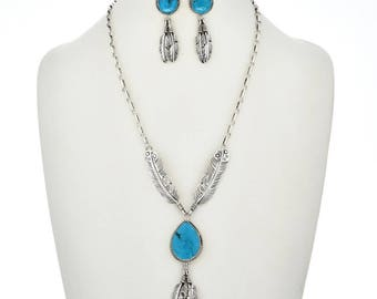 Turquoise Silver Y Necklace Set Navajo Post Dangle Earrings