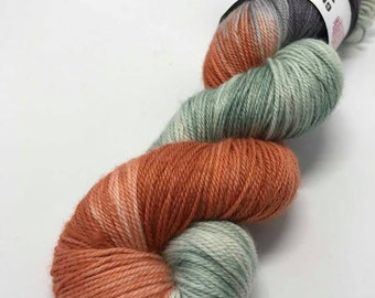 Hand Dyed Yarn Oddball Variegated Grey, Terracotta and Sage 100g/225m DK Double Knitting 75/25% Superwash Merino/Nylon Mulesing Free