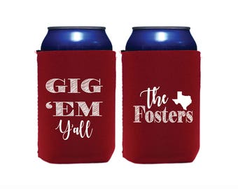 Personalized Huggers, Monogrammed, Custom, Party, Collapsible Neoprene, Beer, Tailgating, Texas Aggies