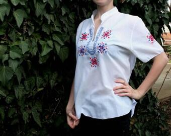Boho blouse, Vintage blouse, Embroidered blouse, Greek embroidered blouse, White embroidered blouse, Ethnic blouse, Peasant blouse, Bohemian