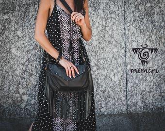 Leather Fringe Bag, Boho bag, Black Leather Shoulder Bag, Fringe bag, Leather bag, Leather crossbody bag, Bohemian bag, Bag with fringe