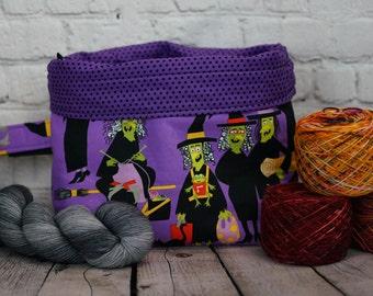 Knitting Witch purple,Knitting  Bucket bag, Knitting project bag, 3 skein project bag, Crochet project bag, Shawl Knitting Bag, Yarn bowl