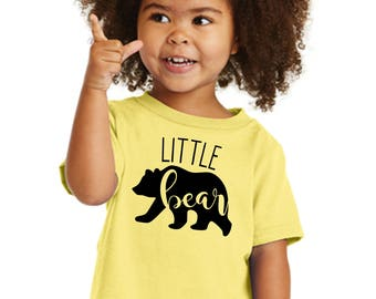 """100% Cotton """"Little Bear"""" Toddler Cotton Tee a RealLifeOutfits favorite family design. Goes with Papa, Mama, Brother, Sister & baby Bear"""