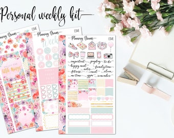Esme Personal kit || Planner stickers || Personal sticker set, Personal planner, floral stickers, pastel stickers, pink stickers