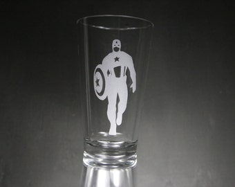 Captain America Etched Glass, Marvel, The Avengers, Custom Gift, Personalized Gift.