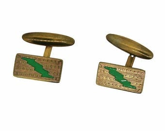 1950s Plastic and Gilt Metal Lightening Strike Vintage Cufflinks
