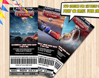 Cars 3 Birthday ticket Invitation (DIGITAL), Cars 3 Party Invitation ticket, Cars 3 Invite Cards, Digital Printable ticket