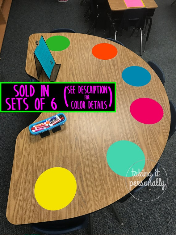 Classroom Table Dry Erase Whiteboard Circles SET OF 6 - Vinyl