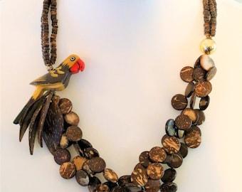 Brown Wooden Parrot Necklace/Multistrand Necklace/Disc Beads/Leaf Necklace/S hook fastener/Statement Necklace/Retro Parrot Necklace/1980s