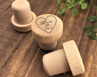 Personalized Wine Stopper - Custom Wine Stopper - Engraved Wood Wine Stopper - Wedding Favor - Wine Wedding Gift - Wine Cork - Customized