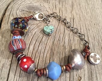 Antique Trade Bead and Chain Bracelet
