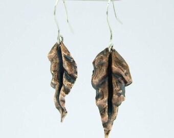Elven Leaf Earrings on Silver hooks