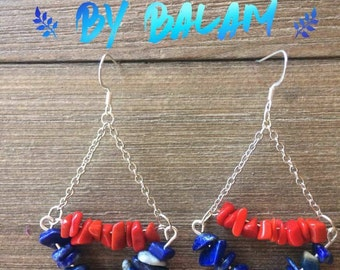 Lapislazuli and coral earrings