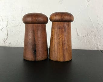 Vintage Teak Salt and Pepper Shakers MCM Danish Modern 1970s