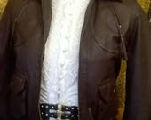 Stunning size 10  Brown Leather Bomber Jacket Pilot Steampunk Cosplay 1940s style vintage look