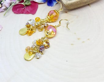 Orange dangle earrings, gold plated french hook