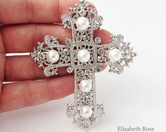 Large Silver and Pearl Cross Brooch Pin, Faith Jewellery, Cross Brooch Pin, Silver Cross Jewelry, Large Cross Jewellery, Christian Jewelry
