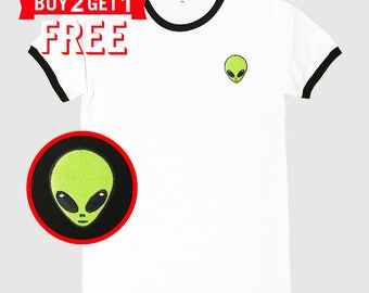 Alien Head Embroidered Ringer T-Shirt by 24PlanetsStudio
