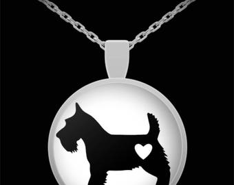 """Adorable Schnauzer/Scotty Silhouette Necklace with Pendant! Ideal gift for an animal lover! Wear this proudly on 22"""" silver plated necklace!"""