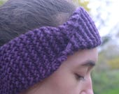 Headband, Ear warmer, Knitted Headband, Purple, Chunky Knit, Women's Accessories