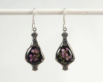 real flower earrings flower fern jewelry Victorian earrings dried flower earrings  botanical earrings flower resin earrings
