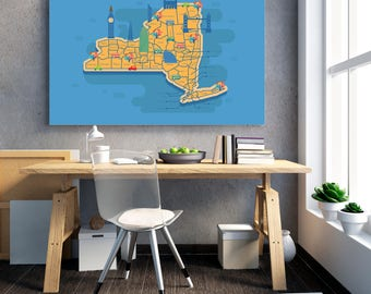 New York City Map Poster, Minimalism Poster, NYC Map Print