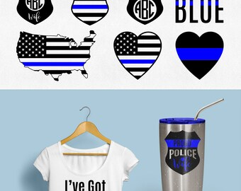 Police Wife Svg Thin Blue Line Svg Police badge svg Back the blue svg I've got his 6 Svg Dxf Eps Jpg Png Clipart Cricut Silhouette cut files