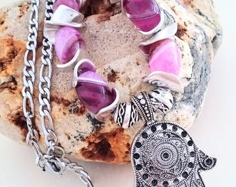 Hamsa necklace, necklace, agate beads, silver plated, steel chain, special gift, ethnic jewelry, purple agate, stone necklace, hippie
