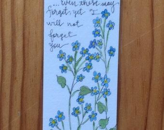 An Original Watercolor bookmark, Forget-Me-Nots