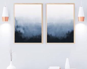 Set Of 2 Prints, Abstract Art, Printable Print Set, Two Prints, Blue