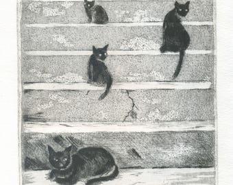"Original engraving ""Night""-""Night"" \Cats\cat\eau-forte\estampe\Black Cat\gravure cat\printmaking\ original hand drawn black & white printed \art"