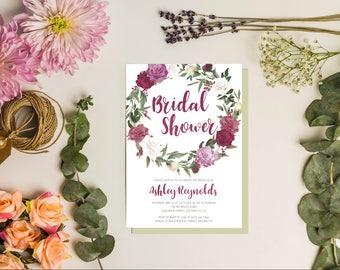 printable invitation - watercolor invitation - bridal shower invitation - bridal shower - watercolor - sugarbrush design - flower invitation