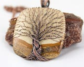 Tree of Life Necklace / Picture Jasper / Wire Wrapped Jewelry / Copper Jewelry / Copper Necklace / Yggdrasil / Handcrafted / 7th Anniversary
