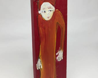 Small painting on wood, decorative, gift - gift for her orange
