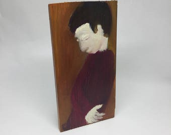 Small painting on wood, decorative gift - character with head down