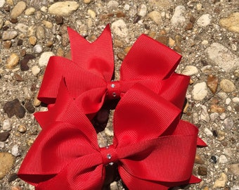 Red Jewel Hair Bow Set / Hair Clips for Girls / School Hair Bows / Red Bows / Red Hair Clips / Girls Hair Accessories / Bows for toddlers