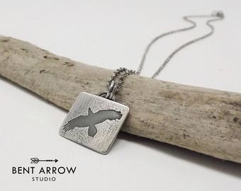 Sterling silver raven necklace, crow pendant, bird necklace, totem, corvid, bird, spread your wings, fly, square, rectangular, artisan, OOAK