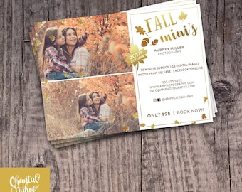 Photography Fall Mini Sessions Template for Photographers PSD Flat card - Photoshop template 5x5 flat card Autumn Photography Session
