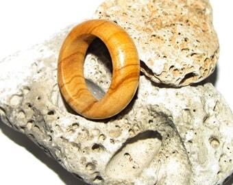 Round olive wood ring, minimalist wood ring