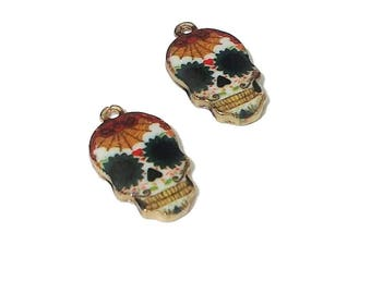 2 Sugar Skull Charms | Dia De Los Muertos | Colorful Skull |  Day of the Dead Charm | Skull Pendant | Ready to Ship from USA | EN215-2
