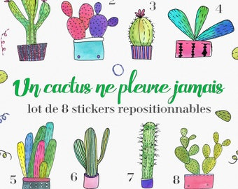 """Set of 8 stickers """"cactus don't cry never."""" - garden Planner, Bujo, Stickers, Nature, Christmas decoration, planner, diary"""