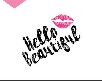 Hello Beautiful, Hello Beautiful SVG, Hello Beautiful Graphic, Beautiful Graphic, Makeup Brush Holder, Makeup Holder Jar