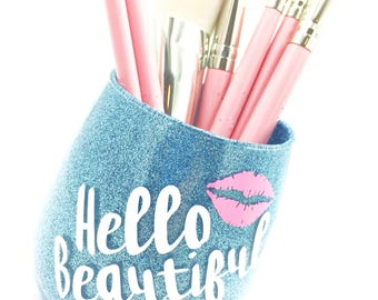 Hello Beautiful - Blue Glitter Makeup Brush Holder, Glitter Makeup Glass, Glitter Makeup Cup, Flawless Makeup Brush Holder